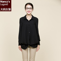 Free Shipping A9 plus size mm 2013 autumn clothing fashion involucres sweep elegant long-sleeve shirt