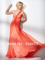 Orange Flower A Line Chiffon Prom Dresses One Shoulder Open Back Special Occasion Gown