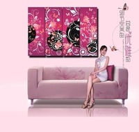 Wholesale Frameless Digital Oil Painting Crystal Film of Colorful Flower and Butterfly as Wall Decor 4pcs/set