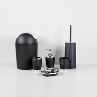 Solid color Black 7pcs Bathroom set 1 lotion bottle + 1 toothbrush cup + 2 Cups +1 soapbox  +1 toilet brush +1 toilet trash