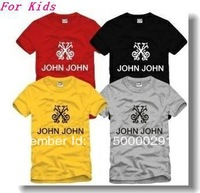 Free shipping 2013 new sale kids t shirt brand John John printed tops 3-12years 100% cotton size 90/100/110/120/130/140/150cm