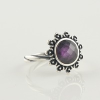 New Retro Solid 925 Sterling Silver flowers with purple Cz stone charm Ring Fashion jewelry christmas gift