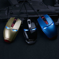 New Arrival Hot Sell Newman Iron Man Game Mouse Gold Blue Black LED Light Free Shipping