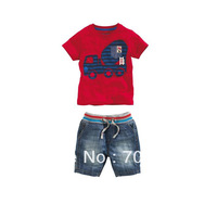 NEW Retail Boys Summer Sets Leisure Kids Suits Red T-shirt + Blue Jeans Shorts Baby Clothing Children Wear, Free Shipping