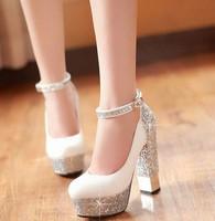 free shipping,2013 NEW Shining Glitter buckle high heels platform women shoes pumps,lady heels wedding shoes,2 colors