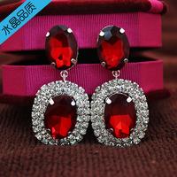 Free Shipping Fashion Cute Silver Plated Red Acrylic Rhinestone Oval Stud Earrings
