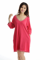 Free Shipping Plus size clothing 200 mm 100% cotton lounge plus size plus size t-shirt