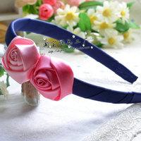 Min $10 Child hair accessory hair accessory child female child baby hair bands navy blue dot headband