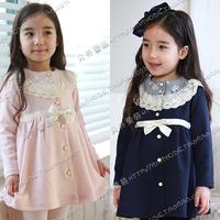 2014 autumn lace decoration girls clothing baby child medium-long overcoat next outerwear wt-0274