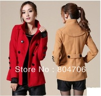 Free Shipping New Hot Women Celebrity Slim Wool Double Breasted Short Trench Coat Lady Popular Outwear Korean Jacket 4 Colours
