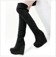 Free shipping,2013 Women fashion new Flock Over the knee wedge high heels platform tall boots shoes,brown,blue,black,euro34-40