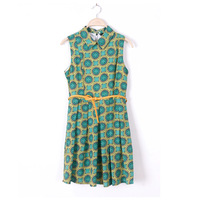 2013 summer fashion print sleeveless turn-down collar slim elegant chiffon belt one-piece dress