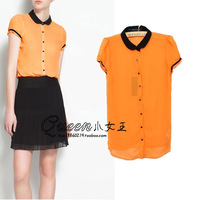 2013 fresh fashion puff sleeve color block peter pan collar short-sleeve chiffon shirt female