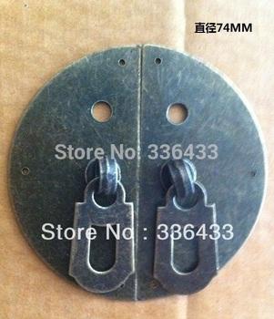 Antique door handle to open the door hasp tin trunk box buckleround mahogany furniture box 7.4mm..
