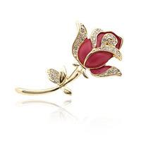Rose brooch rhinestone flower corsage suit pin