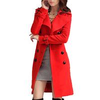 2013 Hot New Women Winter Warm Double Breasted Coat Wool Blend Jacket Outwear With Belt WF-52774