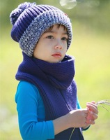 Free shipping kids hat Children 's knitted winter hats Boys and girls caps with ball,10pcs/lot 4 colors for choose
