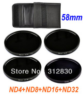 Free shipping High quality Optical Glass 58mm 58mm ND4+ND8+ND16+ND32 Neutral Density Lens Filter Kit