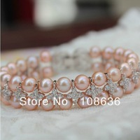 Free Shipping 6mm Freshwater Pearl Bracelet Strands With Crystal Gold Plated Fashion Pearl Bracelet