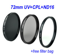 Free shipping Optical Glass 72mm UV+CPL+ND16 Lens Filter Kit +free filter bag for Nikon Canon Sony