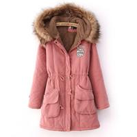 2014 winter medium-long overcoat drawstring waist slim thick wadded jacket female cotton-padded jacket outerwear