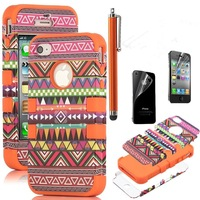 3-Piece Hybrid High Impact Case Tribal Pink/Blue Silicone for iphone 4th 5th+ Screen Protector + Stylus
