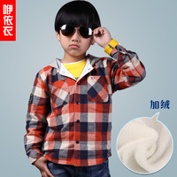 Plus velvet child shirt long-sleeve male child plaid shirts autumn cotton thickening 100% children's clothing 2013