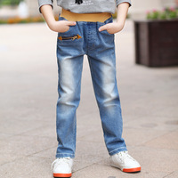 Children's clothing male child denim blue trousers male child jeans child denim long trousers male big boy trousers
