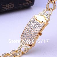 Free Shipping,2013 New Design Rhinestone Stylish Golden  Bracelet Quartz Wristwatch, Lady Crystal Party  Dress Watch