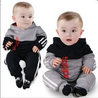 New children's wear brand name fashion kids casual suit baby boys cotton long sleeve hooded jacket +trousers set kids sport wear