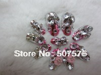 New  Design  Metal  Gradient plum pink  Color   Full cover  Nail  Art  Tips  With Flower  Ornament  Free shipping