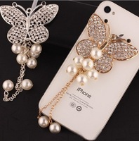 Bling 3D Alloy Full Rhinestone Butterfly tassels Sticker for Mobile Phone Case Decoration Charm Kits 2colors mix  without case