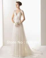 wd000137 luxury Wedding Dress Ivory Tulle V-Neckline Sleeveless Floor-Length Sheath for free shipping