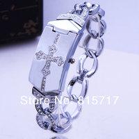Free Shipping,2013 New Design Silver Cross Pattern Bracelet Quartz Wristwatch , Lady Rhinestone Crystal Party Dress Watch