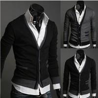 Free Shipping brand new 2013 Fashion  Men's knit cardigan Men's V-neck knit sweater coat clothing PPY03