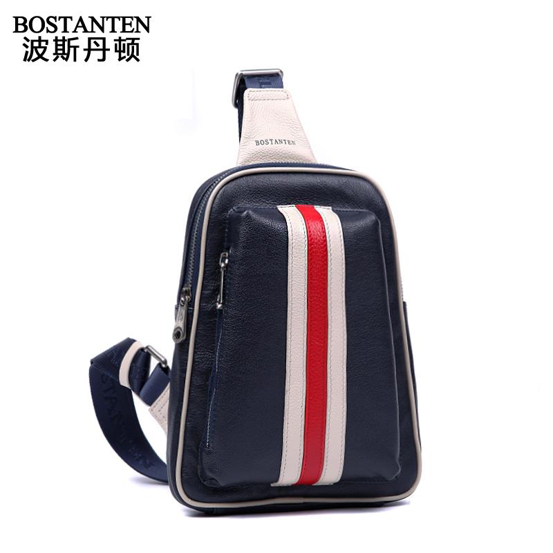 Маленькая сумочка 2013 Fashion Stripe Genuine Leather Shoulder Bag Messenger Bag Cowhide Chest Pack Fashion Waist Pack For Men