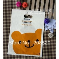 AD116 free shipping wholesale (100pcs/lot) 13*20cm cute cartoon bear promotional plastic gift bag with handle