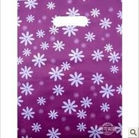 200pcs/lot 25*35cm purple & white flower print plastic bags with handle purple boutique gift bags
