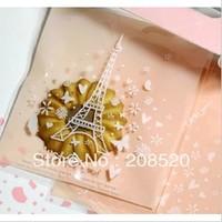 14cm*17cm 380pcs/lot Eiffel Tower self adhesive seal bag bakery bag biscuit cookie package bag