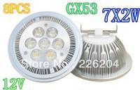 Factory directsale 8pcs lot High Power Led Lamp Spotlight dimmable  AR111 7x2w 14W led spot light gx53 800-900lm  12V
