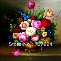 free shipping accurate printed cloth cross-stitch sets diy needlework cross stitch kit painting vase peony flower pattern
