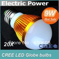 20pcs/lot CREE 9W Led Bulb E27/GU10/B22/E14 85-265V LED globe Light Ball Lamp 500-650lm