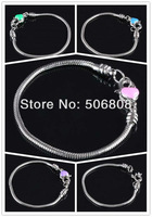 100PCS Wholesale Mixed Color Enamel Heart Lobster Clasp European Bracelet / Snake Chains Fit Charms Beads Wrist Jewelry Findings