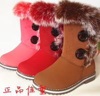 2013 boy girls winter shoes snow boots child boots princess thickening warm boots nubuck leather 26 - 37
