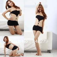 Black spaghetti strap rings bodysuit racerback the temptation to set adult supplies uniform women's sexy underwear twinset
