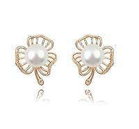 Free Shipping White Pearl Stud Earring Freshwater Pearl Earring Austria Crystal Base