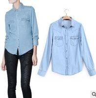One 2 one [2013] Autumn new rivet denim shirt shirt super gas field must have denim shirt! Shipping!
