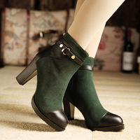 Spring and autumn single boots female fashion genuine leather boots high thick heel platform martin boots ankle-length boots