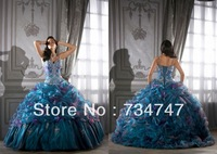 Free Shipping Ball Gown Quinceanera Dresses Spaghetti Straps With Satin Applique Embroidery Crystals Bodice Organza Ruched Skirt