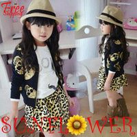 2013 children clothing autumn girl long-sleeve black gilt skull motorcycle jacket zipper cardigan coat outwear free shipping